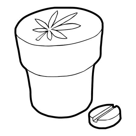intoxication: Medical marijuana bottle and tablet icon in outline style on a white background vector illustration Illustration