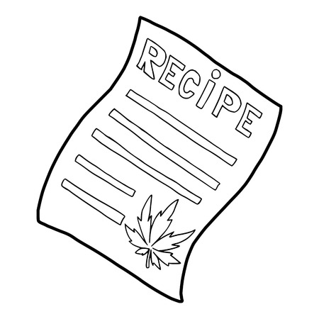 sativa: Marijuana recipe icon in outline style on a white background vector illustration