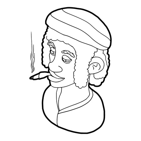 rasta hat: Rastafarian man wearing headband and smoking icon in outline style on a white background vector illustration