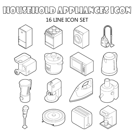 consumer electronics: Household appliance icons set in outline style. Consumer electronics set collection vector illustration