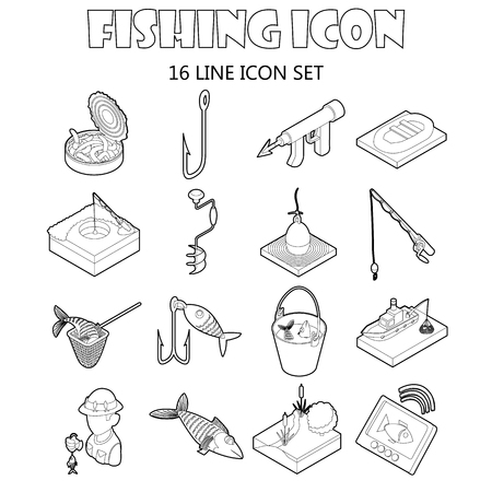 fisher: Fishing icons set in outline style. Fisher equipment set collection vector illustration