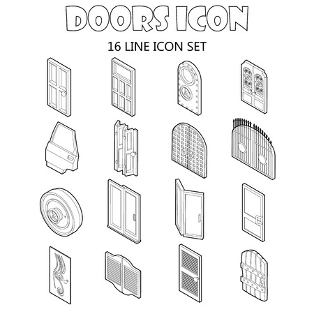 sunroof: Door icons set in outline style. Doors to houses and buildings set collection vector illustration icons set in style. Illustration