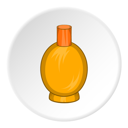 Packaging for perfume icon in cartoon style isolated on white circle background. Production and packaging symbol vector illustration