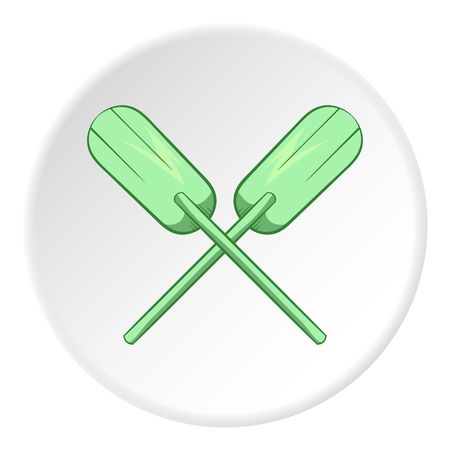 Paddles icon in cartoon style isolated on white circle background. Rowing symbol vector illustration