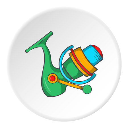 Reel on rod icon in cartoon style isolated on white circle background. Fishing symbol vector illustration Illustration