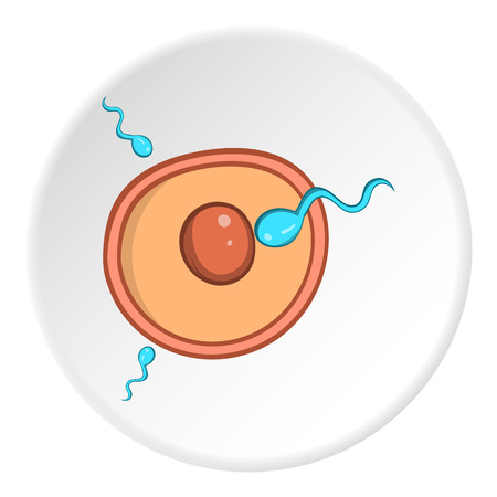 Fertilization of egg icon in cartoon style isolated on white circle background. Pregnancy symbol vector illustration Illustration