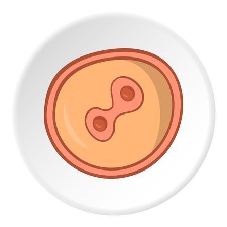 fertilized egg: Fertilized egg icon in cartoon style isolated on white circle background. Pregnancy symbol vector illustration
