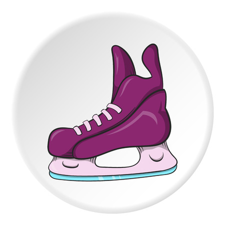 Skates icon in cartoon style isolated on white circle background. Sport symbol vector illustration