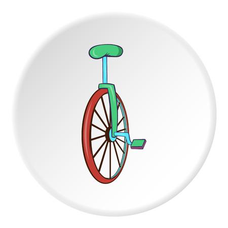 spoke: Unicycle icon in cartoon style isolated on white circle background. Circus symbol vector illustration Illustration