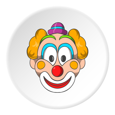 idiot: Head clown icon in cartoon style isolated on white circle background. Jester symbol vector illustration Illustration