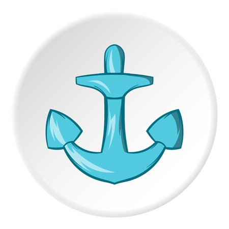 Anchor icon in cartoon style isolated on white circle background. Sea symbol vector illustration Illustration