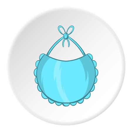 Babero icono de estilo de dibujos animados aislado en el fondo blanco del círculo. Childrens atención ilustración vectorial símbolo