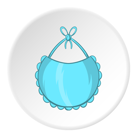 Bib icon in cartoon style isolated on white circle background. Childrens care symbol vector illustration