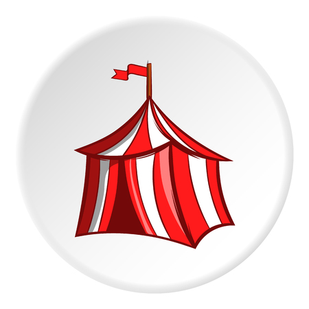 Knights tent icon in cartoon style isolated on white circle background. Halt symbol vector illustration Illustration