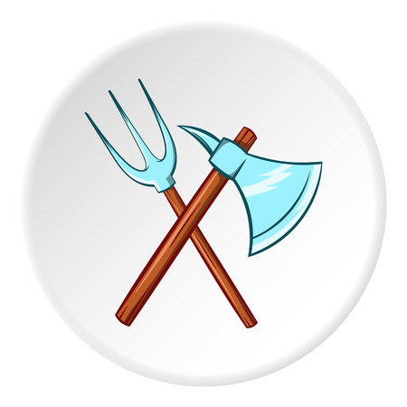 Axe and pitchfork icon in cartoon style isolated on white circle background. Medieval weapon symbol vector illustration Illustration