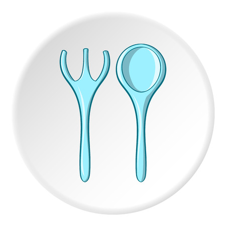 Baby spoon and fork icon in cartoon style isolated on white circle background. Child care symbol vector illustration