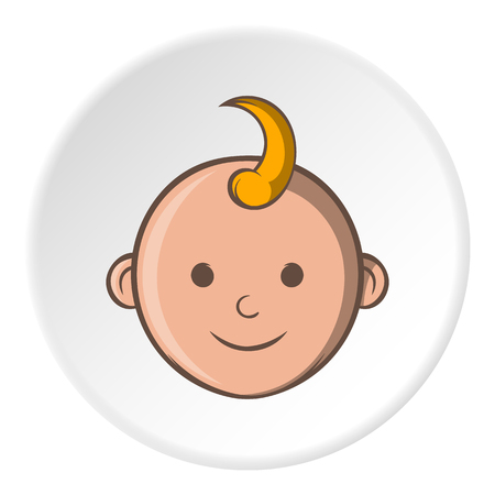 babys: Babys face icon in cartoon style isolated on white circle background. Children symbol vector illustration Illustration