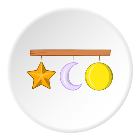 Hanging toys icon in cartoon style isolated on white circle background. Childrens toy symbol vector illustration
