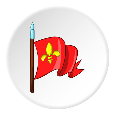 distinction: Medieval knight flag icon in cartoon style isolated on white circle background. Distinction symbol vector illustration