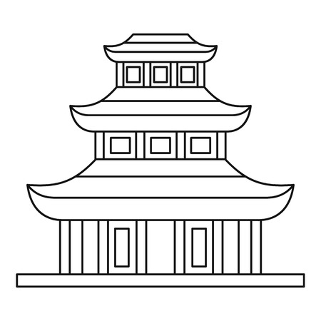 buddhist temple: Buddhist temple icon in outline style on a white background vector illustration