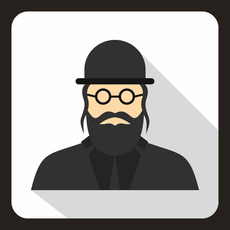 semite: Rabbi icon in flat style on a white background vector illustration Illustration