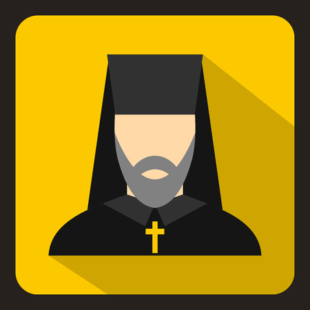 pastor: Orthodox priest icon in flat style on a yelllow background vector illustration