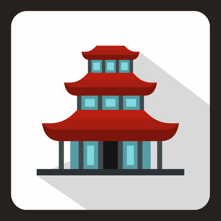 buddhist temple: Buddhist temple icon in flat style on a white background vector illustration Illustration