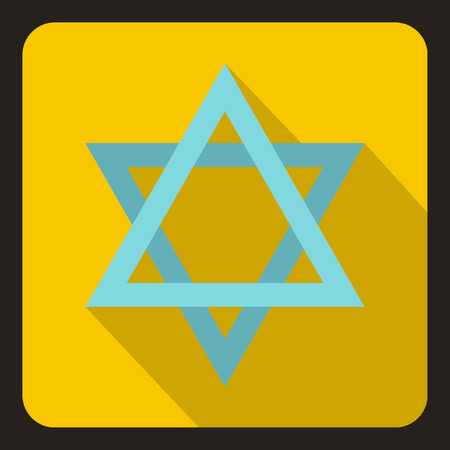 hanuka: Star of David icon in flat style on a yelllow background vector illustration