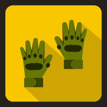 yelllow: Pair of green paintball gloves icon in flat style on a yelllow background vector illustration