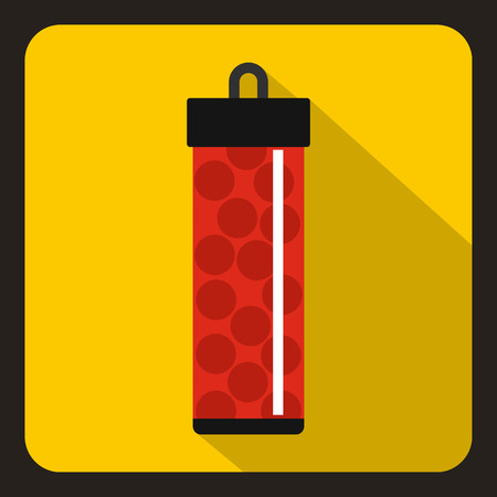 yelllow: Red pack with paintball bullets icon in flat style on a yelllow background vector illustration