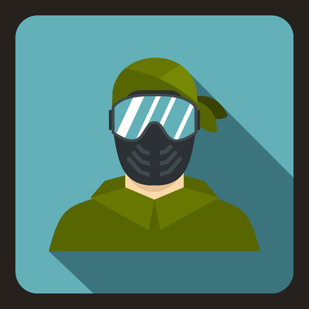 protective mask: Paintball sport player wearing protective mask icon in flat style on a baby blue background vector illustration