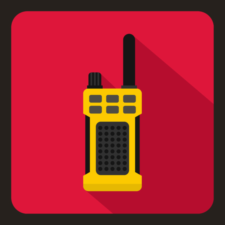 simplex: Yellow portable handheld radio icon in flat style on a crimson background vector illustration