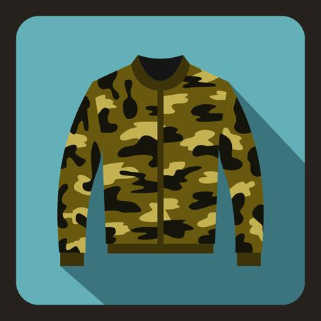 zipper hooded sweatshirt: Camouflage jacket icon in flat style on a baby blue background vector illustration