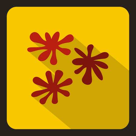 Red paint splashes icon in flat style on a yelllow background vector illustration
