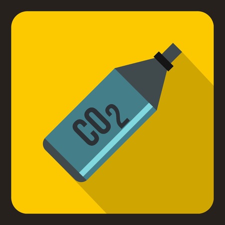 yelllow: CO2 bottle icon in flat style on a yelllow background vector illustration Illustration