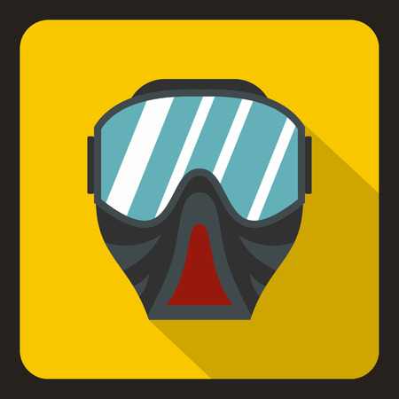 yelllow: Paintball mask icon in flat style on a yelllow background vector illustration Illustration