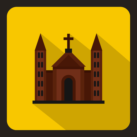 congregation: Christian catholic church building icon in flat style on a yelllow background vector illustration