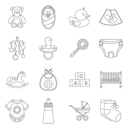baby toys: Newborn icons set in outline style. Baby toys, feeding and care set collection vector illustration Illustration