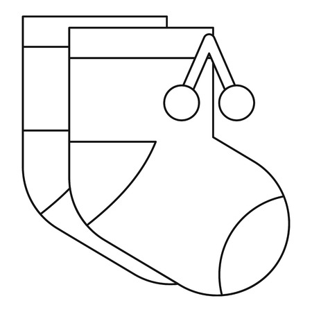 elastic garments: Baby socks icon in outline style on a white background vector illustration