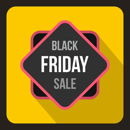 yelllow: Black Friday sale sticker icon in flat style on a yelllow background vector illustration