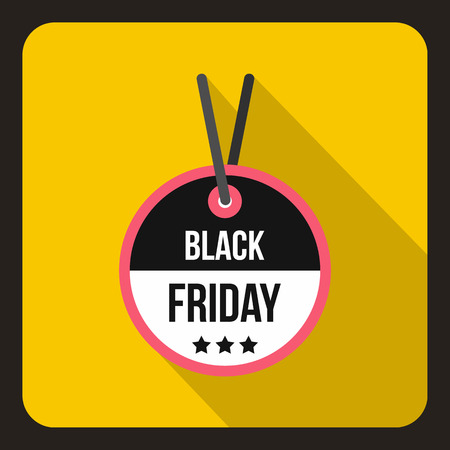 yelllow: Black Friday sale tag icon in flat style on a yelllow background vector illustration Illustration