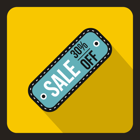 Sale tag 30 percent off icon in flat style on a yelllow background vector illustration Illustration