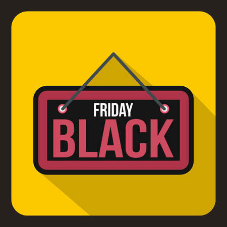 Black Friday signboard icon in flat style on a yelllow background vector illustration Illustration