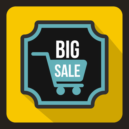 yelllow: Big sale sticker icon in flat style on a yelllow background vector illustration