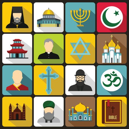 religious symbol: Religious symbol icons set in flat style. World religions and badges set collection vector illustration
