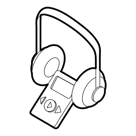 earphone: Audio guide icon in outline style on a white background vector illustration