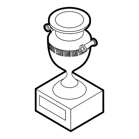 decorative urn: Ancient vase icon in outline style on a white background vector illustration
