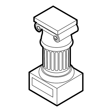 stability: Ancient Ionic pillar icon in outline style on a white background vector illustration