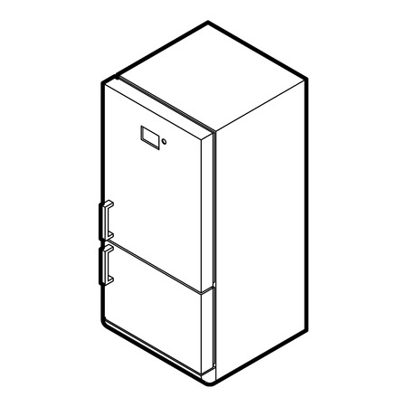 cooler boxes: Fridge icon in outline style on a white background vector illustration Illustration