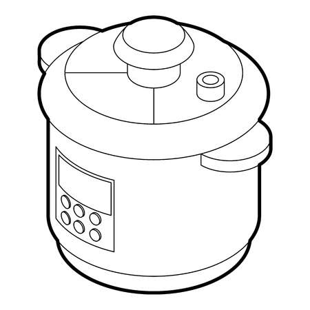 steam cooker: Multi cooker icon in outline style on a white background vector illustration Illustration